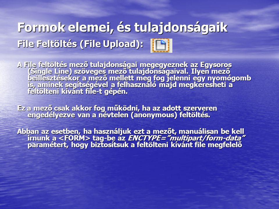 Formok elemei, és tulajdonságaik File Feltöltés (File Upload): A File feltöltés mező tulajdonságai megegyeznek az Egysoros (Single Line) szöveges mező tulajdonságaival.