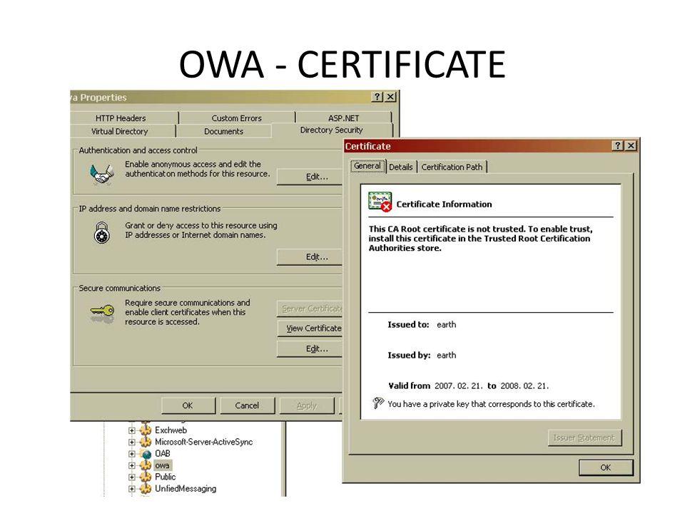 OWA - CERTIFICATE