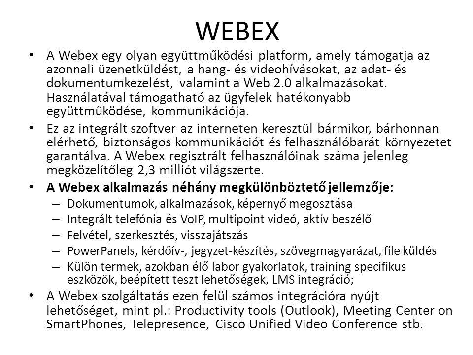 WEBEX A Webex egy olyan együttműködési platform, amely támogatja az azonnali üzenetküldést, a hang- és videohívásokat, az adat- és dokumentumkezelést,