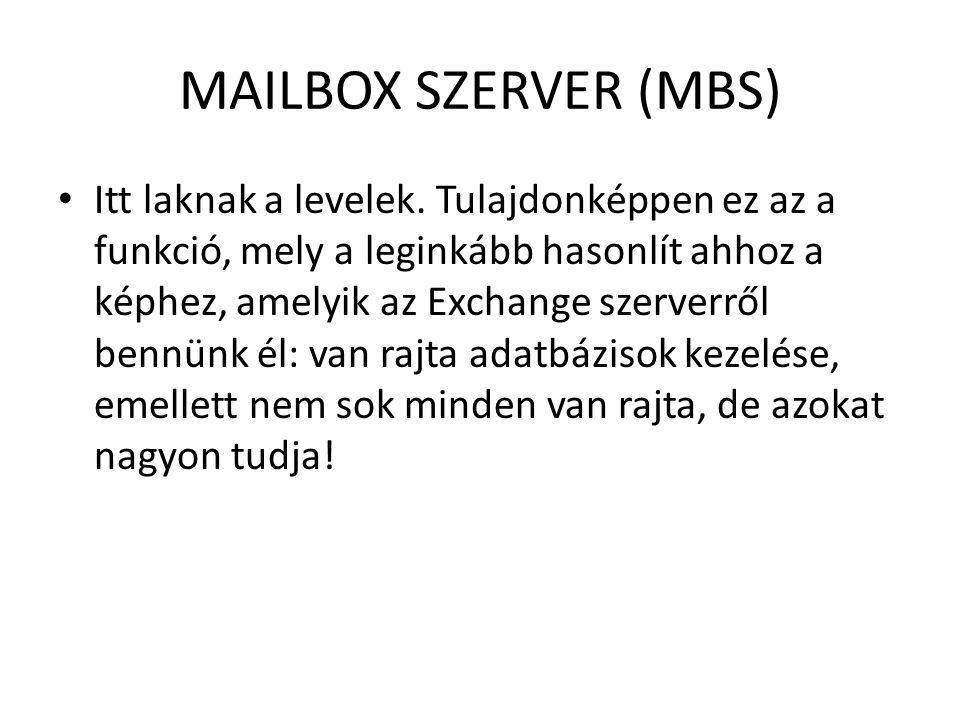 MAILBOX SZERVER (MBS) Itt laknak a levelek. Tulajdonképpen ez az a funkció, mely a leginkább hasonlít ahhoz a képhez, amelyik az Exchange szerverről b