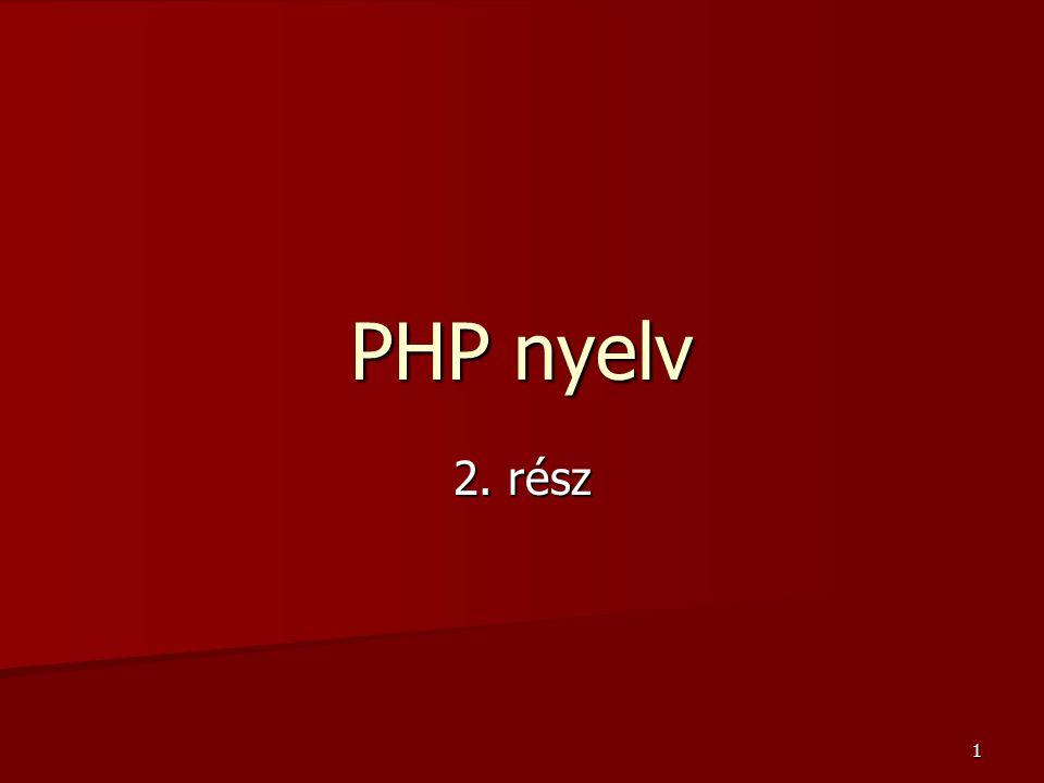 72 PHP-szolgáltatások SzolgáltatásLeírás session.save_handler=filesAlapértelmezésben fájlban tárolja a session-öket, az adatbázisban való tároláshoz a files-t user-re kell megváltoztatni.