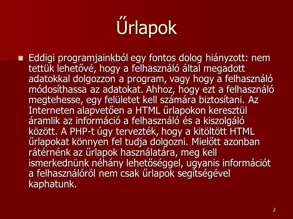 23 Könyvtárak listázása –<?php –$kvtnev= C: ; –$kvt=opendir($kvtnev); –while ($fajl=readdir($kvt)) –{ – $tipus=filetype( $kvtnev/$fajl ); – if (isset($melyik[$tipus])) $melyik[$tipus]++; – else $melyik[$tipus]=0; –} –closedir($kvt); –foreach ($melyik as $kulcs=>$ertek) –{ – print $kulcs. : .$ertek. ; –} –?> A 6.