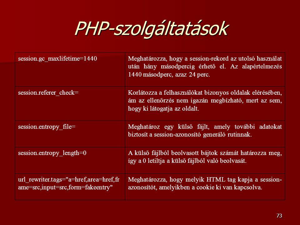 73 PHP-szolgáltatások session.gc_maxlifetime=1440Meghatározza, hogy a session-rekord az utolsó használat után hány másodpercig érhető el.