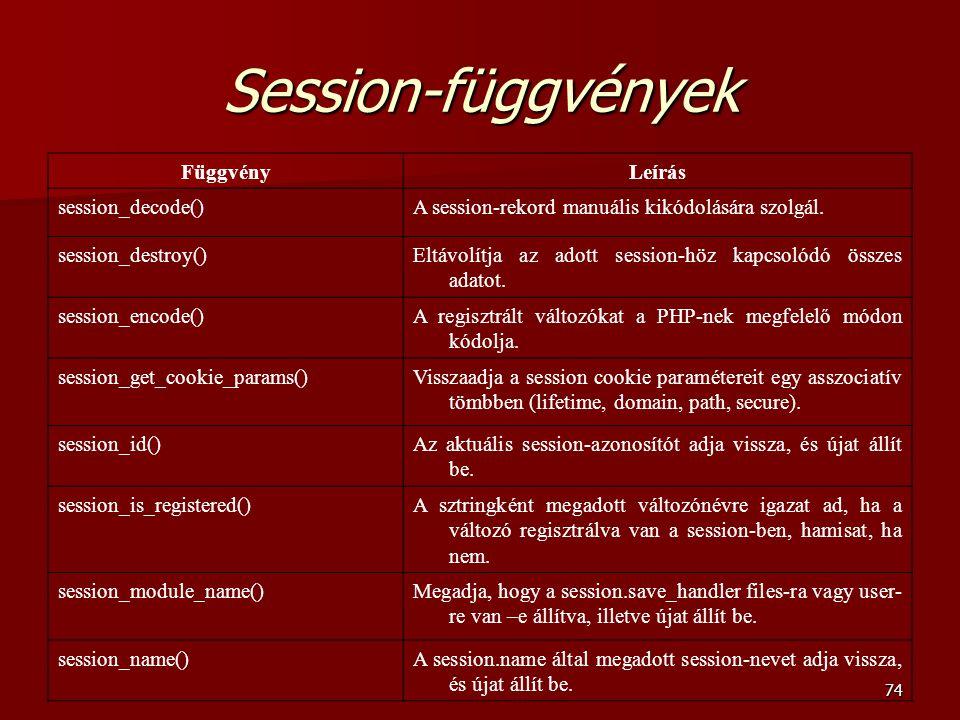 74 Session-függvények FüggvényLeírás session_decode()A session-rekord manuális kikódolására szolgál.