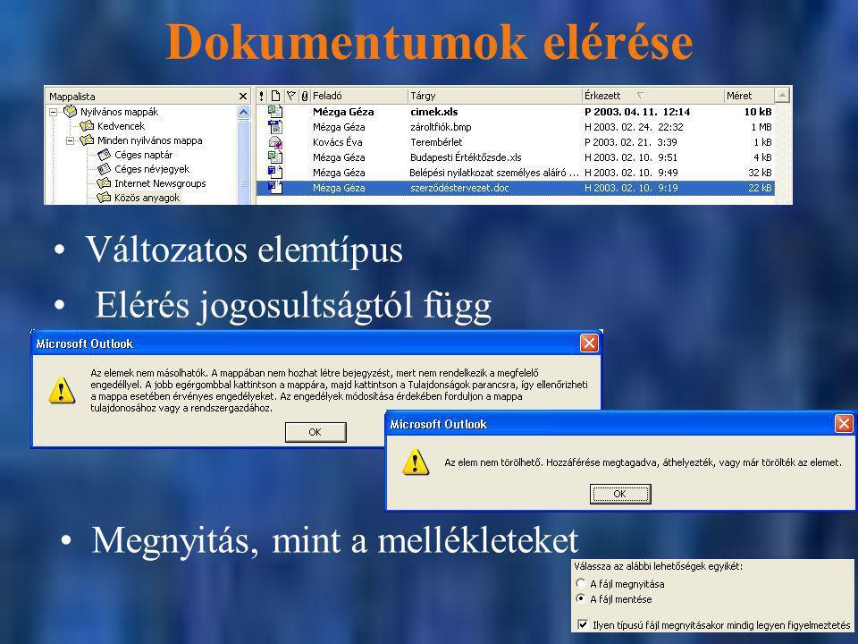 Dokumentumok elérése Változatos elemtípus Elérés jogosultságtól függ Megnyitás, mint a mellékleteket