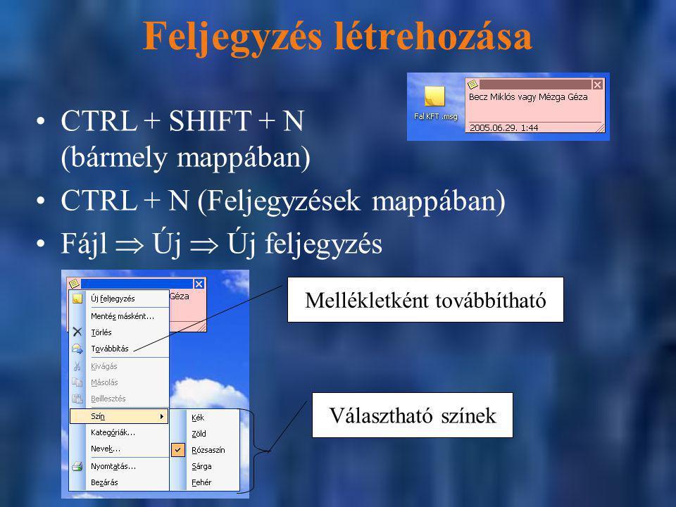 Feljegyzés létrehozása CTRL + SHIFT + N (bármely mappában) CTRL + N (Feljegyzések mappában) Fájl  Új  Új feljegyzés Mellékletként továbbítható Választható színek