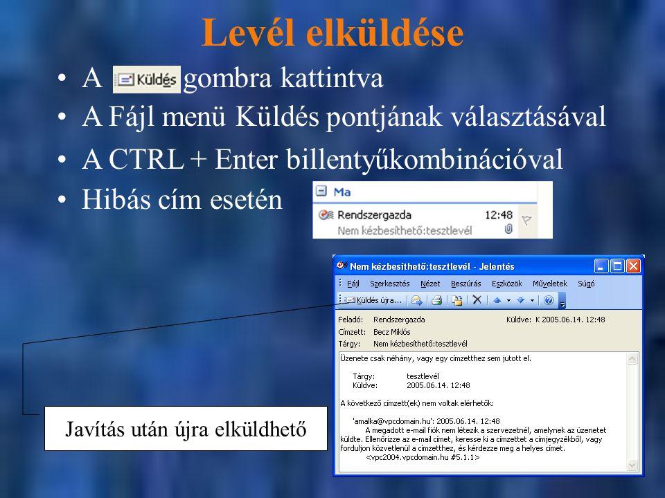 Levél elküldése A Fájl menü Küldés pontjának választásával A CTRL + Enter billentyűkombinációval Javítás után újra elküldhető A gombra kattintva Hibás