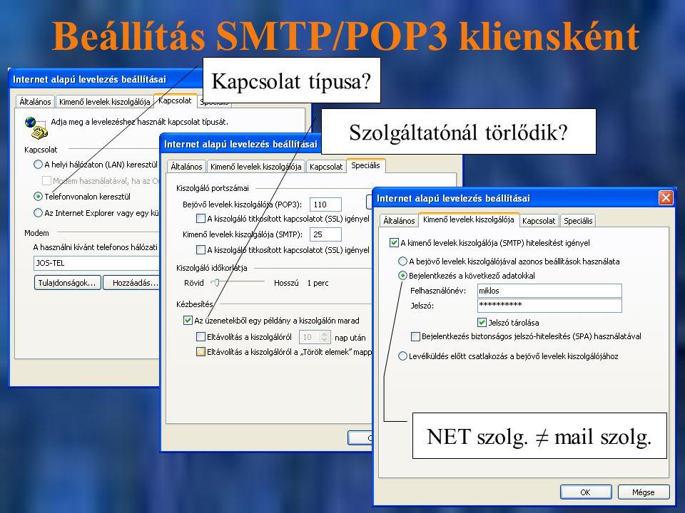 Beállítás SMTP/POP3 kliensként Kapcsolat típusa?Szolgáltatónál törlődik? NET szolg. ≠ mail szolg.