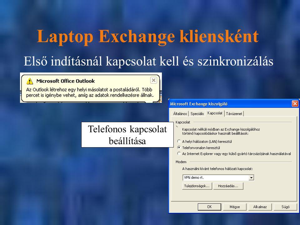 Laptop Exchange kliensként Első indításnál kapcsolat kell és szinkronizálás Telefonos kapcsolat beállítása