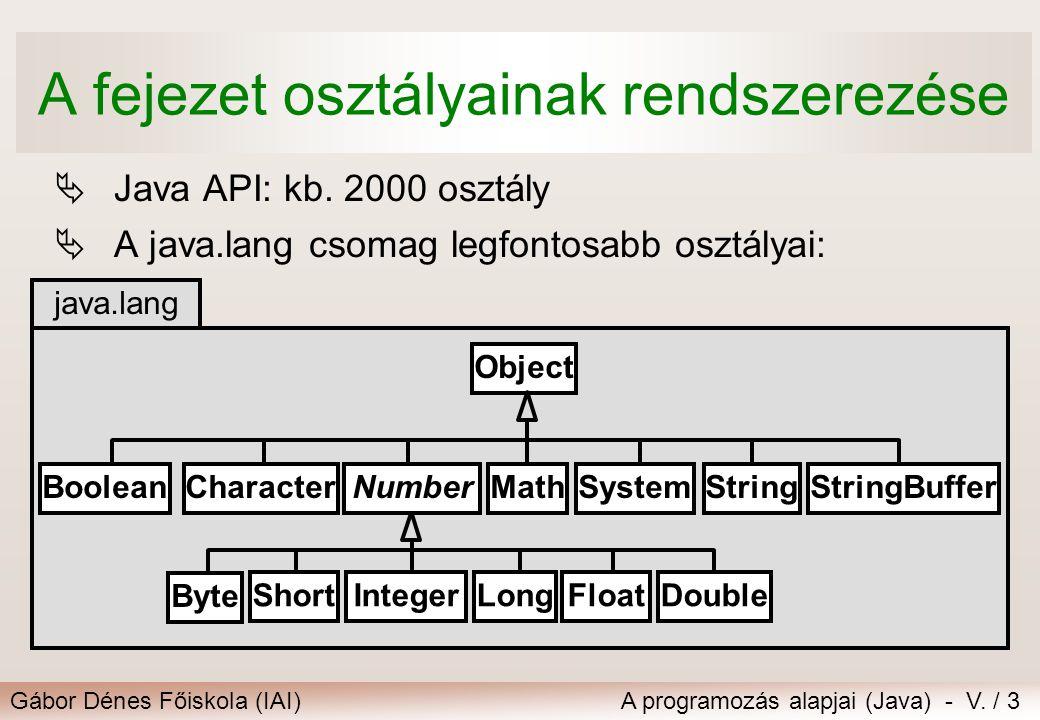 Gábor Dénes Főiskola (IAI)A programozás alapjai (Java) - V. / 3 A fejezet osztályainak rendszerezése  Java API: kb. 2000 osztály  A java.lang csomag