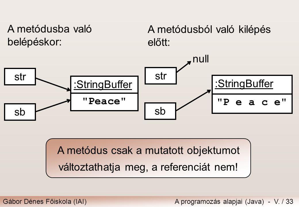 Gábor Dénes Főiskola (IAI)A programozás alapjai (Java) - V. / 33 :StringBuffer