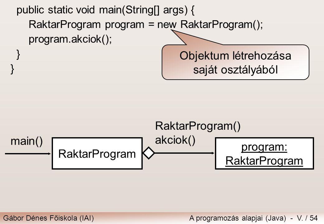 Gábor Dénes Főiskola (IAI)A programozás alapjai (Java) - V. / 54 public static void main(String[] args) { RaktarProgram program = new RaktarProgram();
