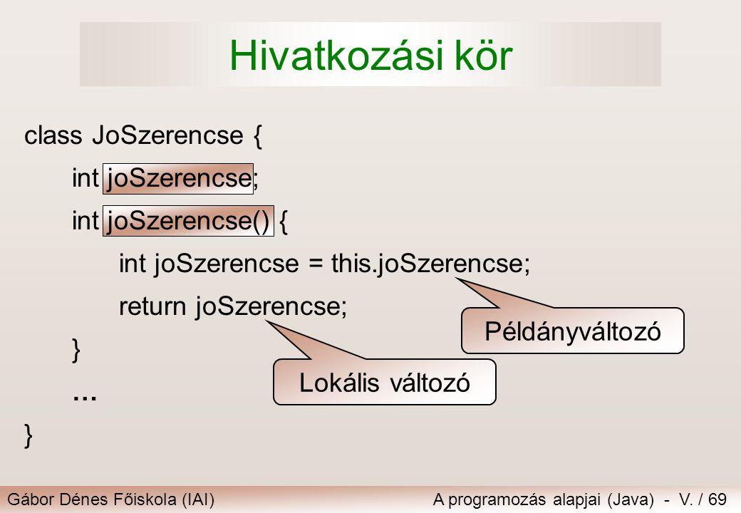 Gábor Dénes Főiskola (IAI)A programozás alapjai (Java) - V. / 69 class JoSzerencse { int joSzerencse; int joSzerencse() { int joSzerencse = this.joSze