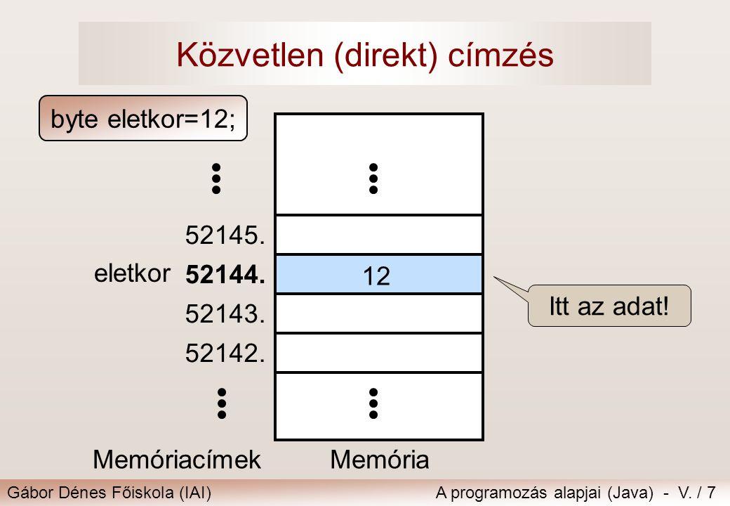 Gábor Dénes Főiskola (IAI)A programozás alapjai (Java) - V. / 7 Közvetlen (direkt) címzés Memória 52142. 52143. 52144. 52145. eletkor 12 Memóriacímek