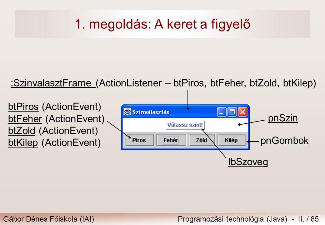 Gábor Dénes Főiskola (IAI)Programozási technológia (Java) - II. / 85 1. megoldás: A keret a figyelő lbSzoveg btPiros (ActionEvent) btFeher (ActionEven