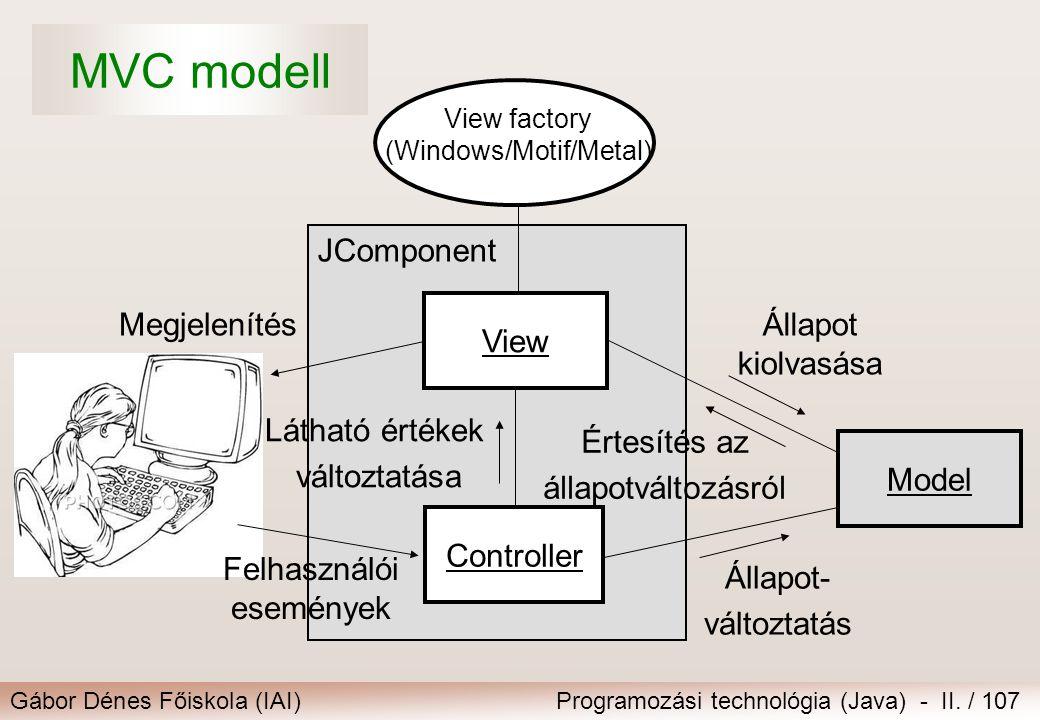 Gábor Dénes Főiskola (IAI)Programozási technológia (Java) - II. / 107 JComponent Látható értékek változtatása Controller Model Állapot kiolvasása Érte