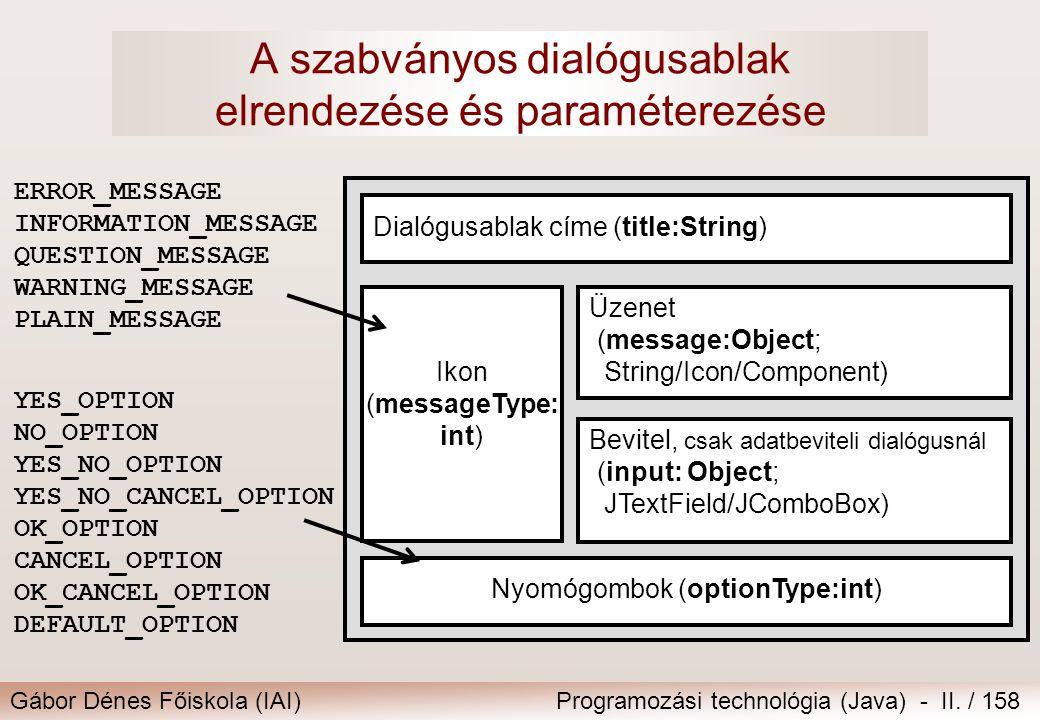 Gábor Dénes Főiskola (IAI)Programozási technológia (Java) - II. / 158 A szabványos dialógusablak elrendezése és paraméterezése ERROR_MESSAGE INFORMATI