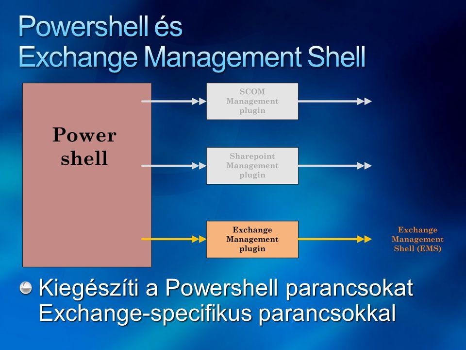 Kiegészíti a Powershell parancsokat Exchange-specifikus parancsokkal