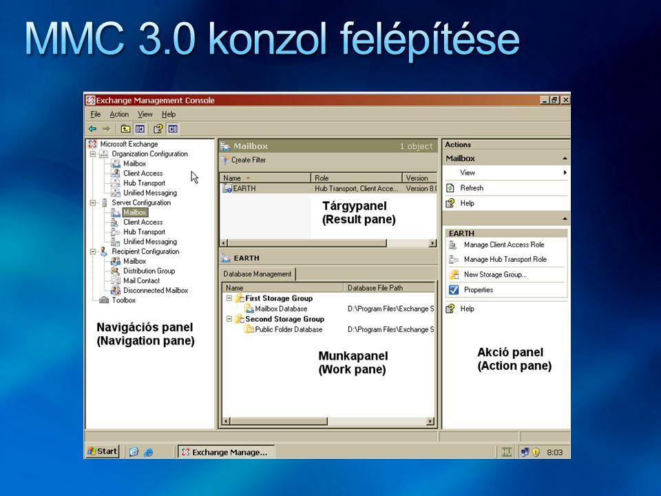 Organizáció szintű beállítások Szerver szintű beállítások Recipient (postafiók) szintű beállítások Szerszámosdoboz