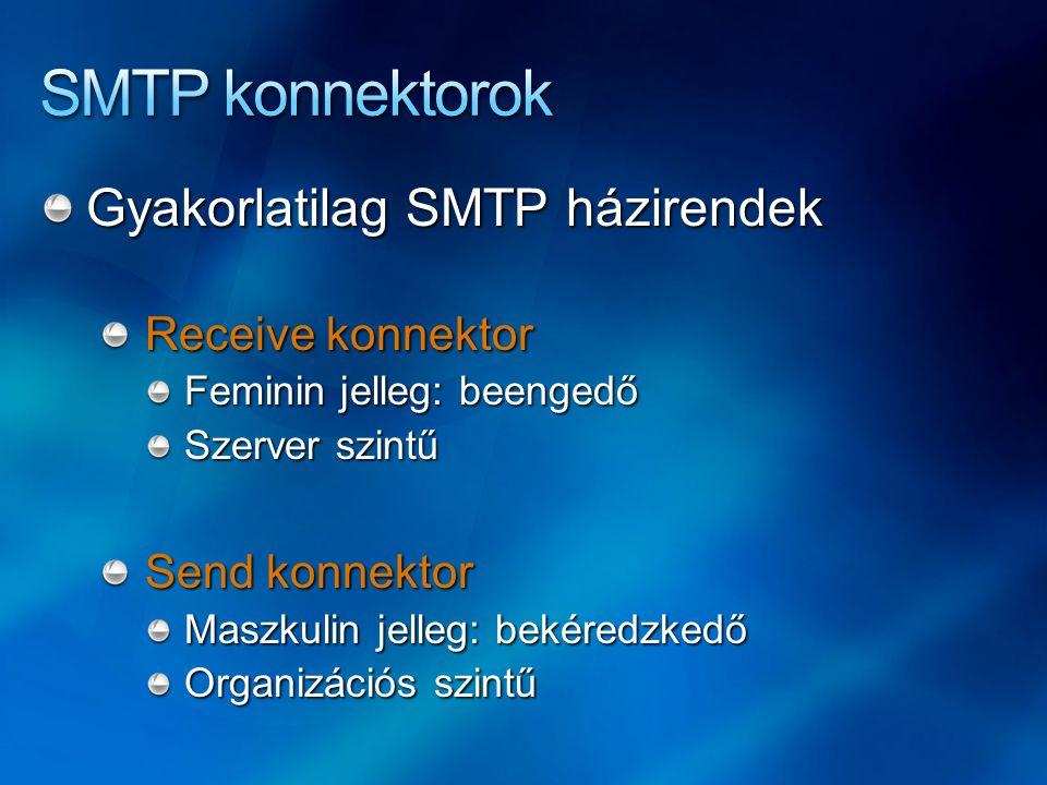 Gyakorlatilag SMTP házirendek Receive konnektor Feminin jelleg: beengedő Szerver szintű Send konnektor Maszkulin jelleg: bekéredzkedő Organizációs szintű