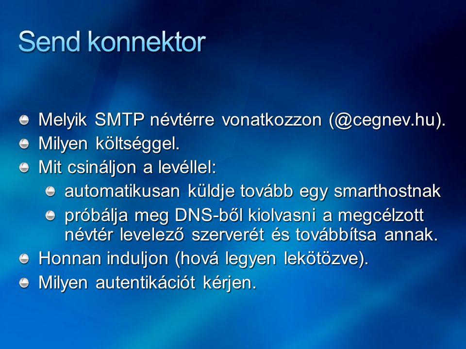 Melyik SMTP névtérre vonatkozzon (@cegnev.hu). Milyen költséggel. Mit csináljon a levéllel: automatikusan küldje tovább egy smarthostnak próbálja meg