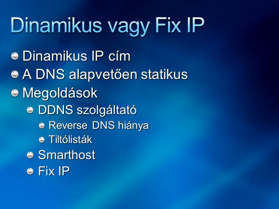 Dinamikus IP cím A DNS alapvetően statikus Megoldások DDNS szolgáltató Reverse DNS hiánya TiltólistákSmarthost Fix IP