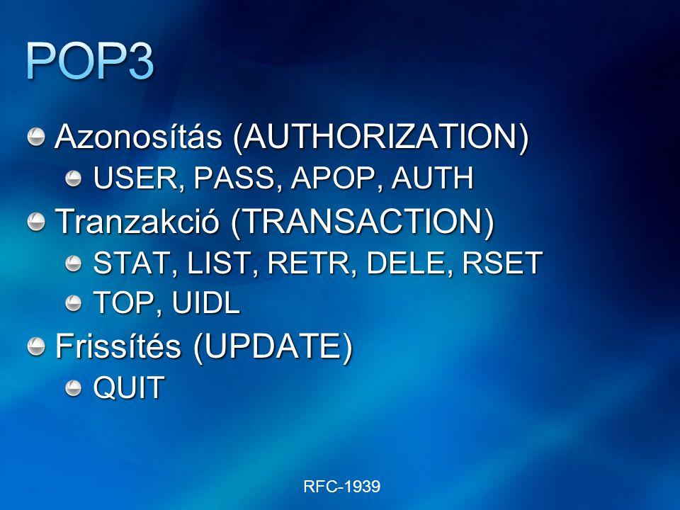 Azonosítás (AUTHORIZATION) USER, PASS, APOP, AUTH Tranzakció (TRANSACTION) STAT, LIST, RETR, DELE, RSET TOP, UIDL Frissítés (UPDATE) QUIT RFC-1939