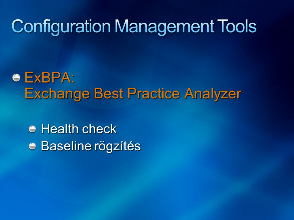 ExBPA: Exchange Best Practice Analyzer Health check Baseline rögzítés
