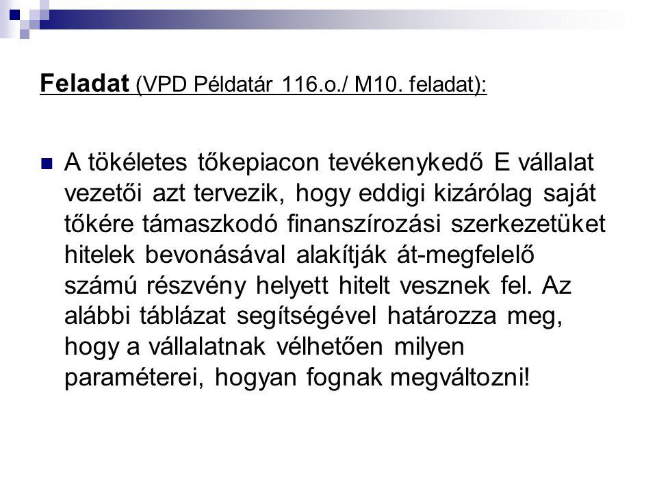 Feladat (VPD Példatár 116.o./ M10.