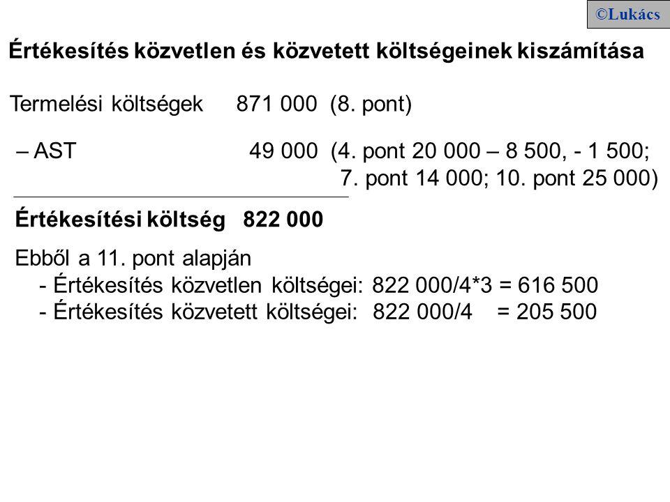 Értékesítés közvetlen és közvetett költségeinek kiszámítása – AST 49 000 (4. pont 20 000 – 8 500, - 1 500; 7. pont 14 000; 10. pont 25 000) Ebből a 11