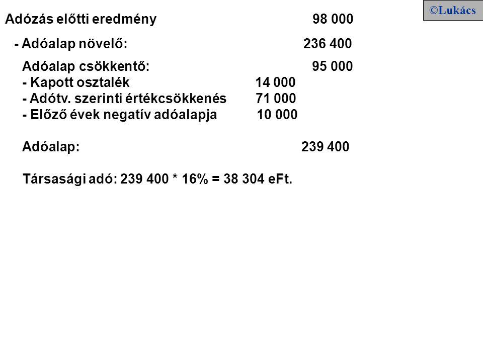 Adóalap csökkentő: 95 000 - Kapott osztalék 14 000 - Adótv.