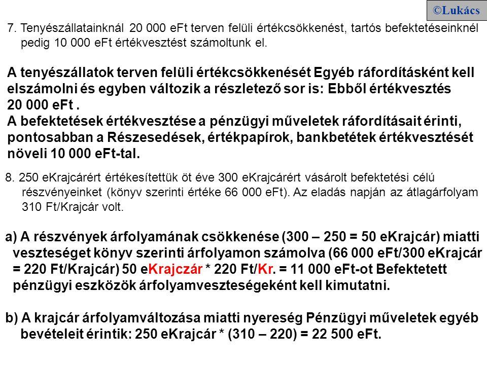 7. Tenyészállatainknál 20 000 eFt terven felüli értékcsökkenést, tartós befektetéseinknél pedig 10 000 eFt értékvesztést számoltunk el. A tenyészállat