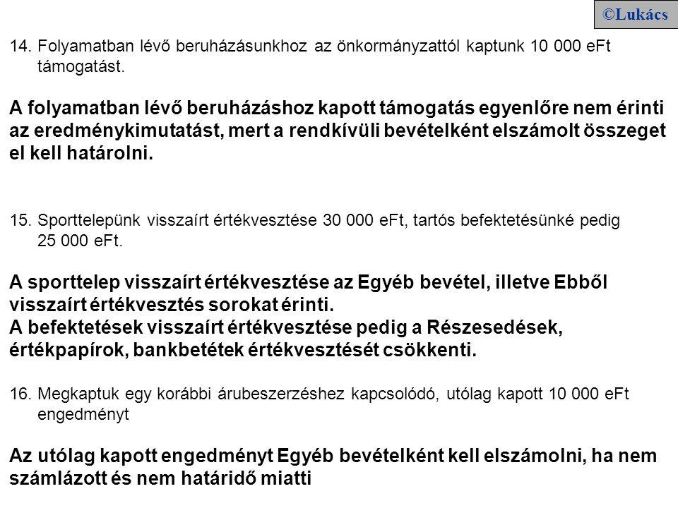 14. Folyamatban lévő beruházásunkhoz az önkormányzattól kaptunk 10 000 eFt támogatást.