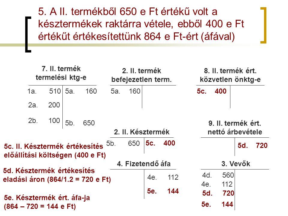 5. A II. termékből 650 e Ft értékű volt a késztermékek raktárra vétele, ebből 400 e Ft értékűt értékesítettünk 864 e Ft-ért (áfával) 7. II. termék ter