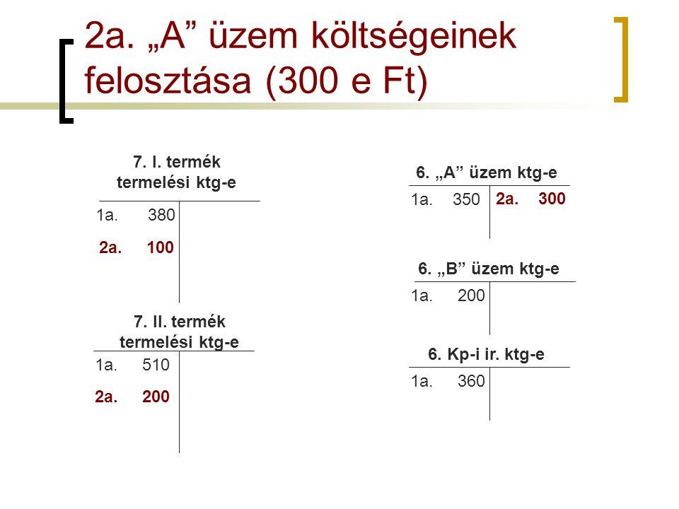 """2a. """"A"""" üzem költségeinek felosztása (300 e Ft) 7. I. termék termelési ktg-e 7. II. termék termelési ktg-e 1a. 510 1a. 380 6. """"A"""" üzem ktg-e 6. """"B"""" üz"""
