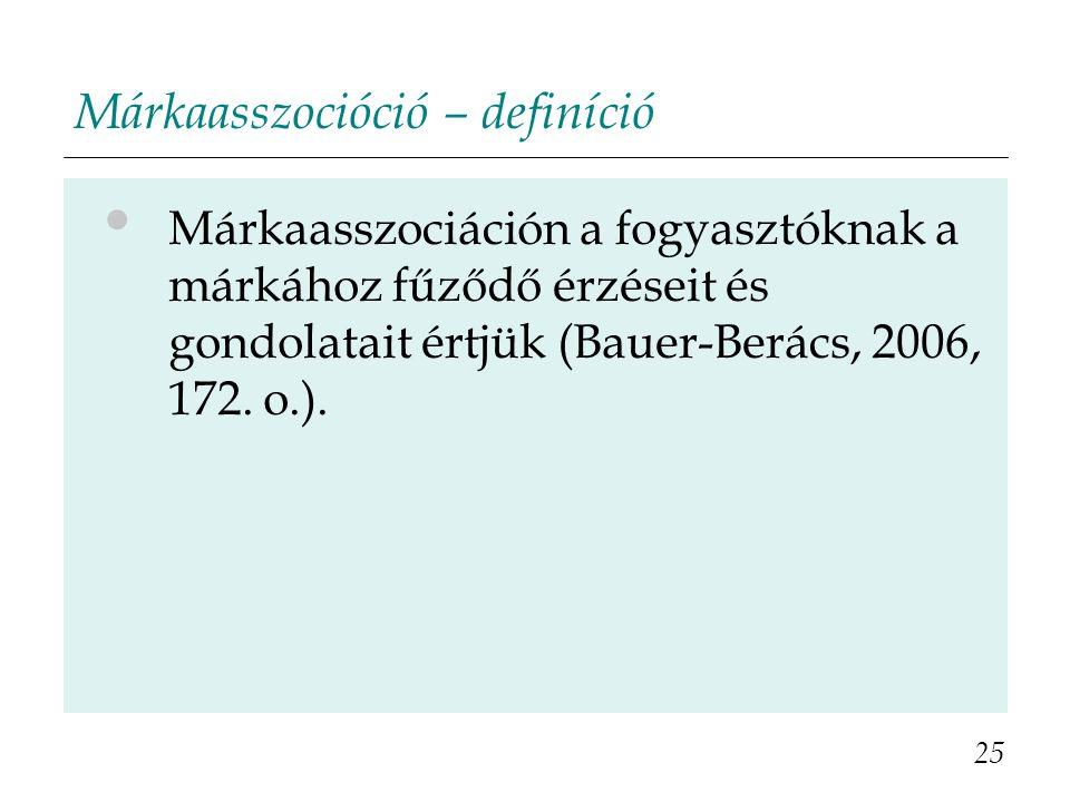 Márkaasszocióció – definíció Márkaasszociáción a fogyasztóknak a márkához fűződő érzéseit és gondolatait értjük (Bauer-Berács, 2006, 172. o.). 25