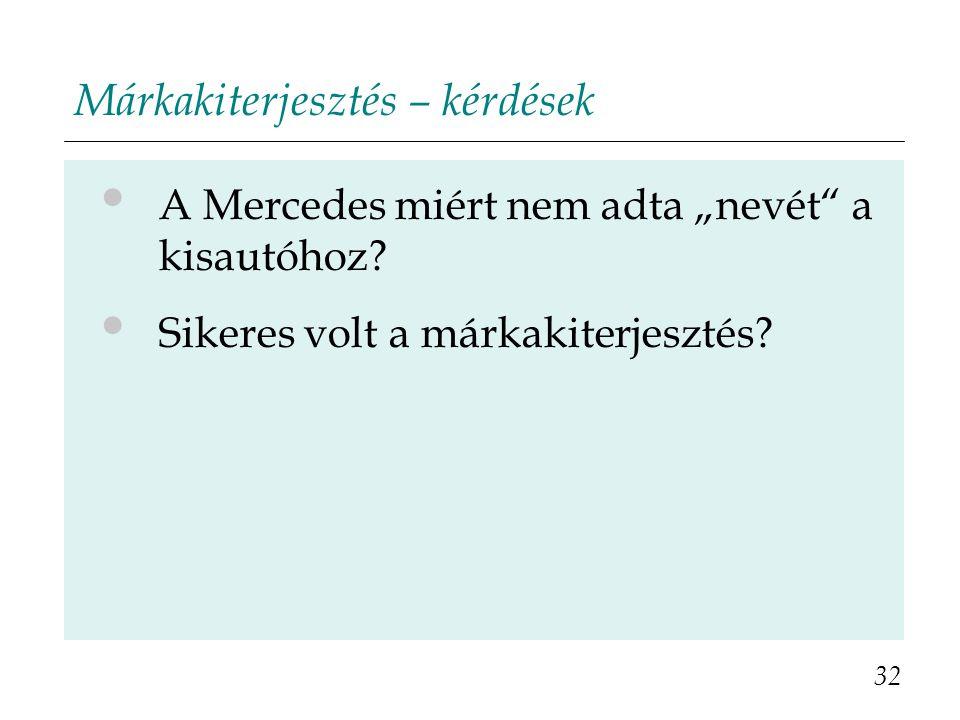 """Márkakiterjesztés – kérdések A Mercedes miért nem adta """"nevét"""" a kisautóhoz? Sikeres volt a márkakiterjesztés? 32"""