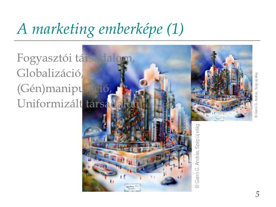 A marketing emberképe (2) Valamilyen jóléti társadalom fogyasztója, aki: - megelégedettségre, - örömre, - élvezetre törekszik, de - nem mindig tudja, hogy mik azok a javak és szolgáltatások, amelyek valóban ezt nyújtják számára.