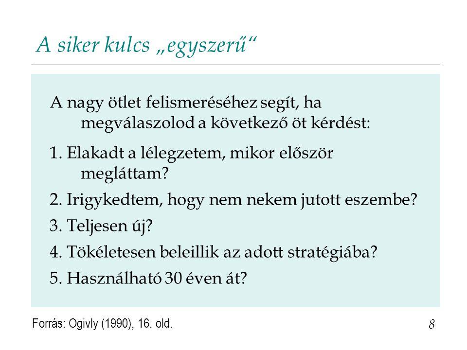 """A siker kulcs """"egyszerű"""" 8 Forrás: Ogivly (1990), 16. old. A nagy ötlet felismeréséhez segít, ha megválaszolod a következő öt kérdést: 1. Elakadt a lé"""