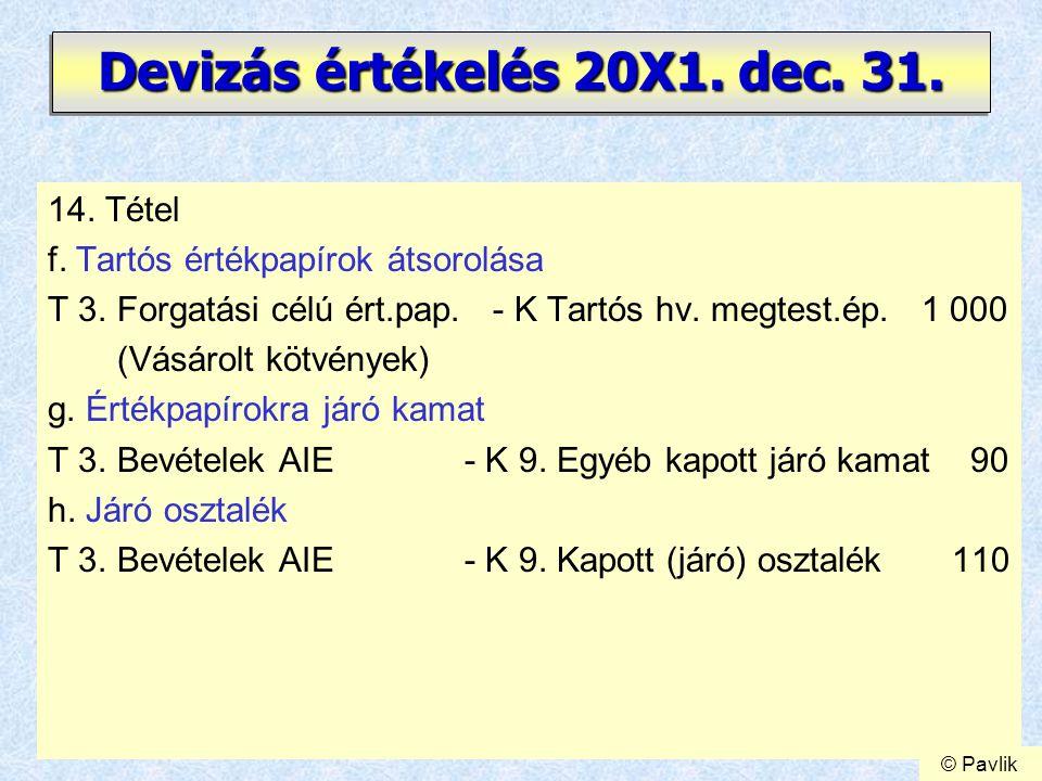 20 Devizás értékelés 20X1. dec. 31. 14. Tétel f. Tartós értékpapírok átsorolása T 3. Forgatási célú ért.pap. - K Tartós hv. megtest.ép. 1 000 (Vásárol