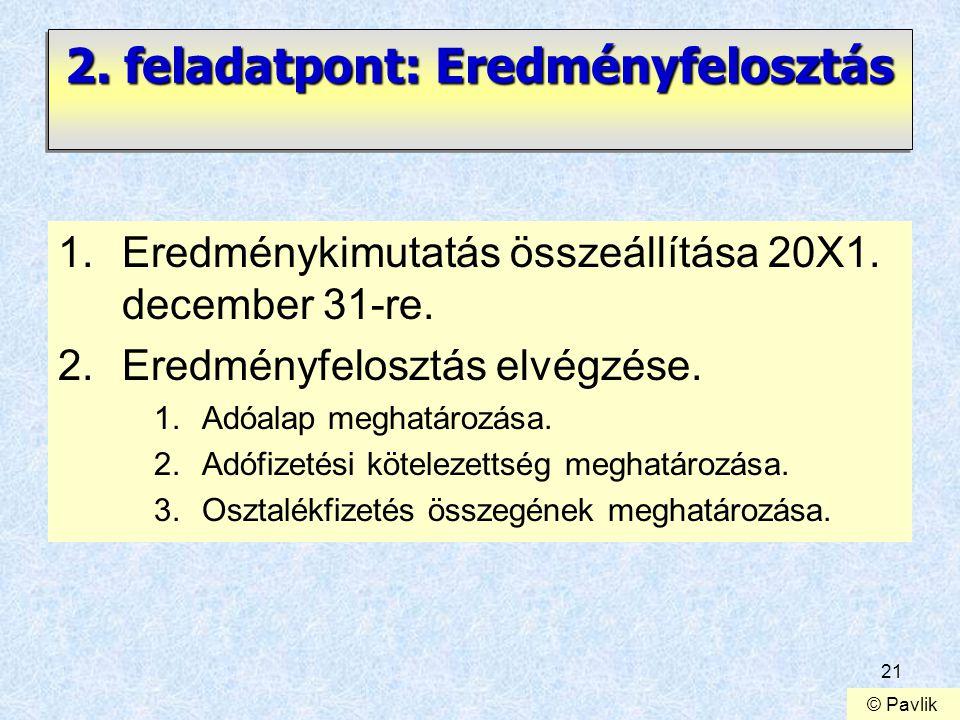 21 2. feladatpont: Eredményfelosztás 1.Eredménykimutatás összeállítása 20X1. december 31-re. 2.Eredményfelosztás elvégzése. 1.Adóalap meghatározása. 2