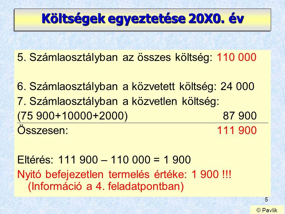 5 Költségek egyeztetése 20X0.év 5. Számlaosztályban az összes költség: 110 000 6.