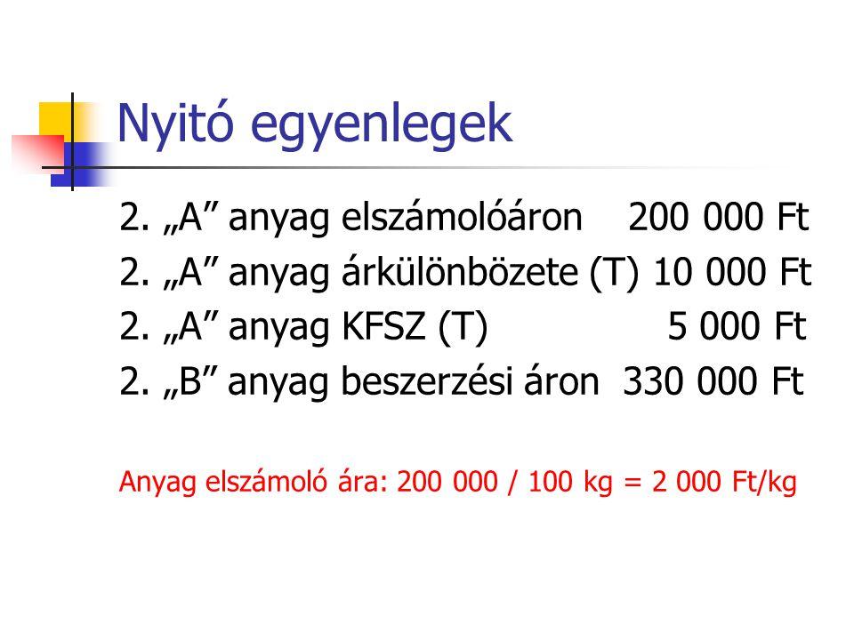 """Nyitó egyenlegek 2. """"A"""" anyag elszámolóáron 200 000 Ft 2. """"A"""" anyag árkülönbözete (T) 10 000 Ft 2. """"A"""" anyag KFSZ (T) 5 000 Ft 2. """"B"""" anyag beszerzési"""