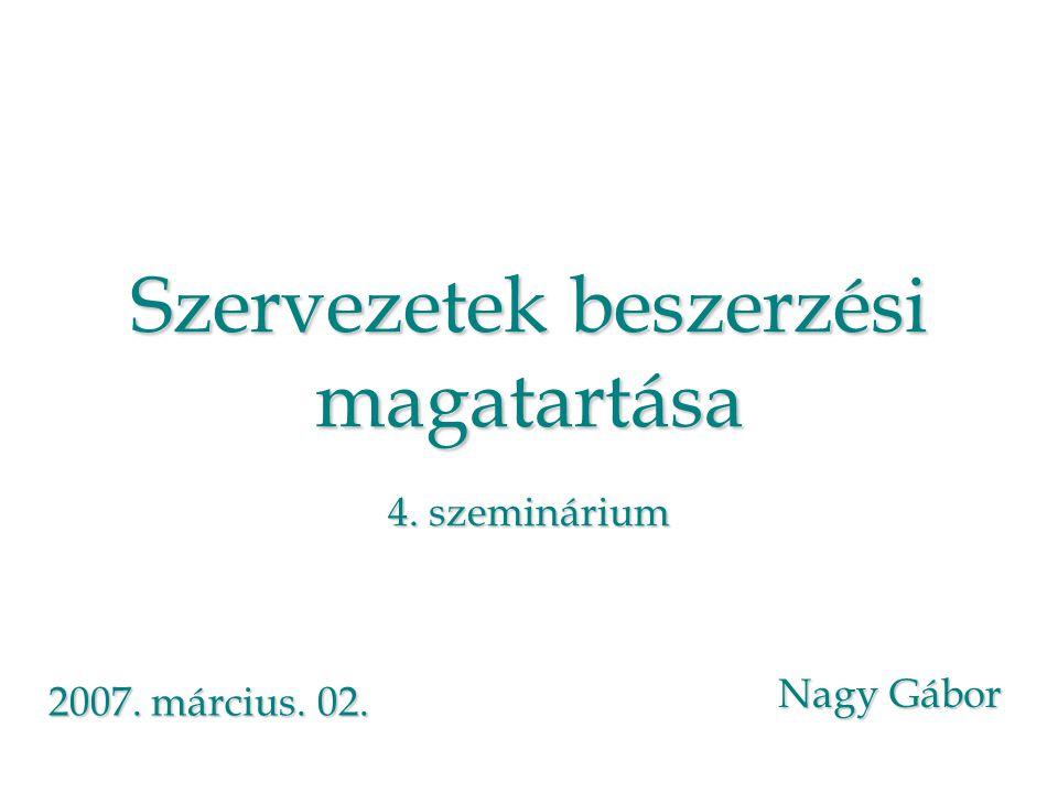 Szervezetek beszerzési magatartása 4. szeminárium Nagy Gábor 2007. március. 02.