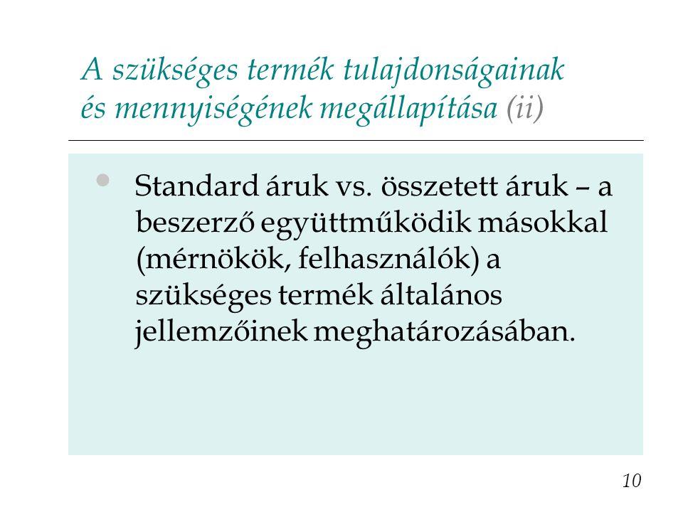 A szükséges termék tulajdonságainak és mennyiségének megállapítása (ii) 10 Standard áruk vs.