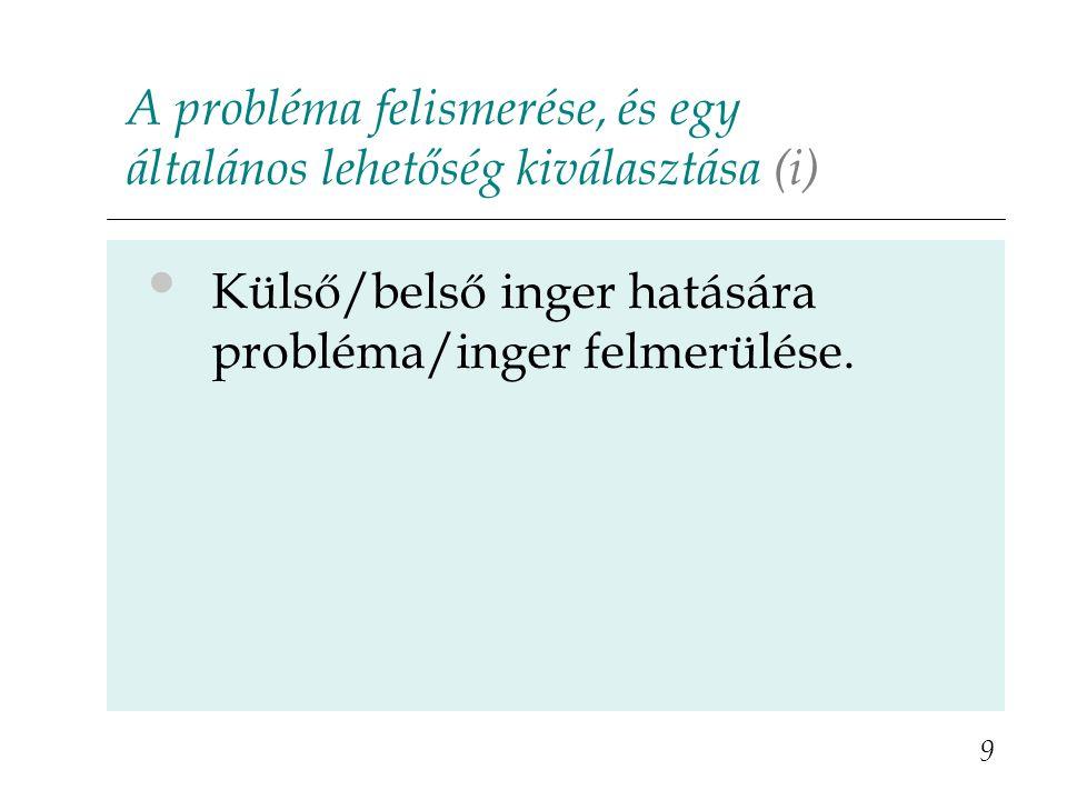 A probléma felismerése, és egy általános lehetőség kiválasztása (i) 9 Külső/belső inger hatására probléma/inger felmerülése.