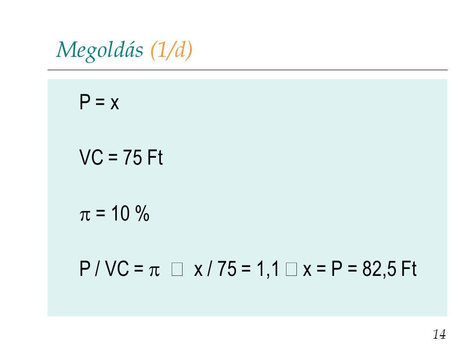 Megoldás (1/d) P = x VC = 75 Ft  = 10 % P / VC =  x / 75 = 1,1  x = P = 82,5 Ft 14