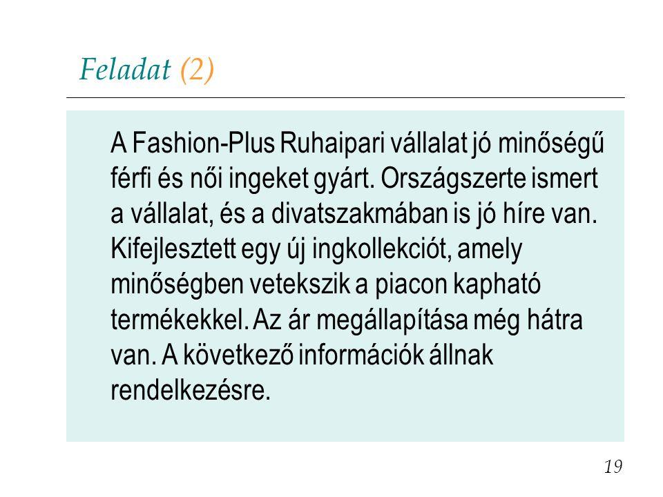 Feladat (2) A Fashion-Plus Ruhaipari vállalat jó minőségű férfi és női ingeket gyárt. Országszerte ismert a vállalat, és a divatszakmában is jó híre v