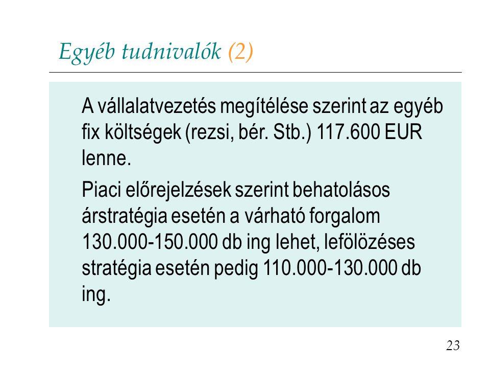 Egyéb tudnivalók (2) A vállalatvezetés megítélése szerint az egyéb fix költségek (rezsi, bér. Stb.) 117.600 EUR lenne. Piaci előrejelzések szerint beh