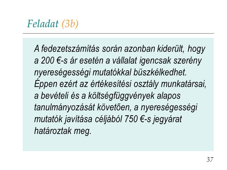 Feladat (3b) 37 A fedezetszámítás során azonban kiderült, hogy a 200 €-s ár esetén a vállalat igencsak szerény nyereségességi mutatókkal büszkélkedhet